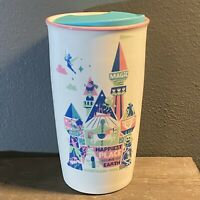 New Starbucks Disneyland Park Happiest Place on Earth Ceramic White Tumbler Mug