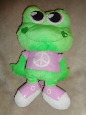 "Frog Backpack Peace Sign 15"" Animations Green Purple Shirt shoes stuffed plush"