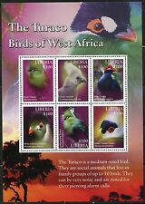 LIBERIA 2016 THE TURACO BIRDS OF WEST  AFRICA  SHEET OF SIX   MINT NH