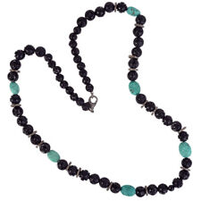 Natural Diamond Black Onyx Turquoise Beads 925 Silver Matinee Necklace For Women