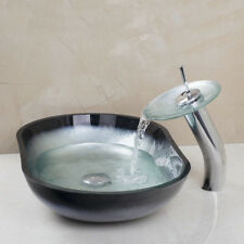 Waterfall Oval Hand Painting Wash Tempered Glass Basin Vessel Sink Faucet Set