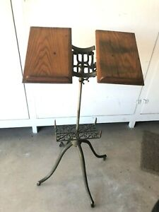 ANTIQUE VICTORIAN CAST IRON & OAK ADJUSTABLE LIBRARY DICTIONARY BOOK STAND