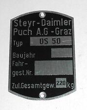 Original Steyr-Daimler-Puch A.G.-Graz Typenschild DS 50 Fahrwerk Rahmen