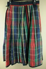 Vintage Women's Navy Green & Red Plaid Polyester Silk Lined Skirt M Medium
