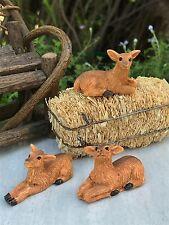 Miniature Dollhouse FAIRY GARDEN Accessories ~ Set of 3 Mini Resin Deer ~ NEW