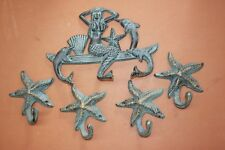 (5) Mermaid Collector Gift Set,Bronze-look Cast Iron Mermaid Nautical Wall Hooks