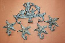 (5) Antique-style Cast Iron Mermaid Wall Hooks, Bronzed-look Mermaid Decor
