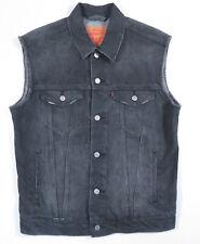 Levis Dark Gray Faded Black Distrussed Denim Jean Trucker Jacket Vest Mens M