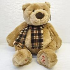 "Gund Cuddly Plush Bear 14"" 41280 Tag Flannel Brown Scarf"