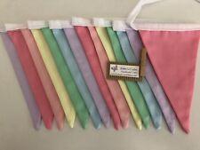 Fabric bunting flags pastel plain #2-nursery decor photo prop party cake smash