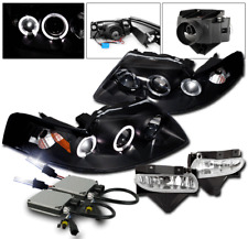 1999-2004 FORD MUSTANG BLACK HALO PROJECTOR HEADLIGHT+FRONT FOG LAMP+10K HID KIT