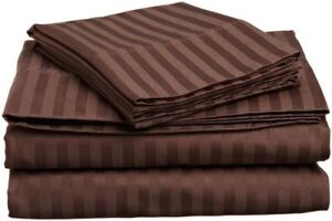 (UK King) 4 PC Bed Sheet Set Egyptian Cotton 1000 Thread Count Chocolate stripe