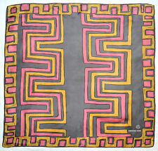 """Vintage MERCEDES-BENZ Abstract GEOMETRIC Gray Pink Yellow Twill Silk 30"""" Scarf"""