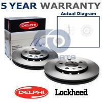2x Front Delphi Lockheed Coated Brake Discs For Audi Seat Skoda VW BG3953C