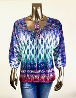 CHICO'S $69.50 NEW BLUE PINK TIE NECK 3/4 SLEEVES ELASTIC WAIST TOP SIZE 1 ( M )