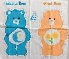 "Vtg Care Bear Fabric Panel Stuffed Pillow Craft Bedtime Friend 13"" 6714 1980s"