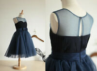 Navy Blue Tulle Chiffon Flower Girl Dress Infant Toddler PAGEANT Bridal Party