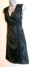 Almost Famous Black Crochet Applique Embroidered Lace Cocktail Dress UK 8