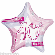 """19"""" Pink 40th Birthday Prismatic Foil Balloon party"""