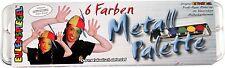 Eulenspiegel 6 Farben Metall-Palette 206003 Kinder-Schminke +Pinsel NEU