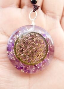 REIKI ENERGY CHARGED AMETHYST STONE WITH FLOWER OF LIFE ORGONE CRYSTAL PENDANT