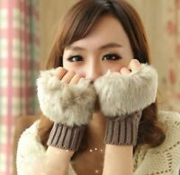 Fashion Women's fur Knitted Fingerless Winter Gloves Unisex Soft Warm Mittens