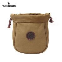 TOURBON Canvas Shotgun Cartridge Pouch with Double Belt Loop Clay Shooting Bag