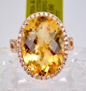 BEAUTIFULL 14K ROSE GOLD 13.20CT DIAMOND CITRINE HALO SOLITAIRE ENGAGEMENT RING