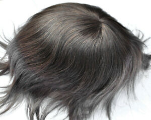 Dark Brown Toupee for Men Mens Human Hair System Thin Skin Hairpieces Weave Unit