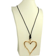 Lagenlook gold huge oversized large heart pendant black leather long necklace