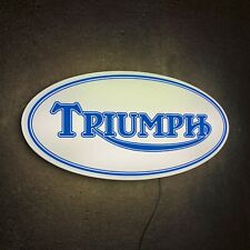 TRIUMPH MOTORCYCLE LED ILLUMINATED LIGHT BOX SIGN GAS OIL GARAGE AUTOMOBILIA