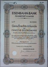 Aktie, Eisenbahn-Bank 1930,                                           (Art.3238)