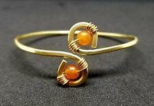 Brass Bracelet Wire Cats Eye Orange Beads Gold Colored Artisan