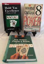 3 Books:  THE POKER PLAYER'S BIBLE, HOLD 'EM EXCELLENCE & WINNING OMAHA POKER