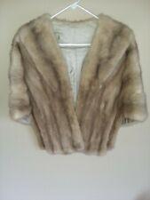 Vintage 1960's Silver Beige MINK Fur Stole Cape Wrap Bolero Shrug Gorgeous