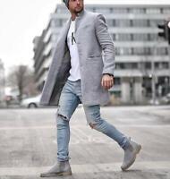 Men's Autumn Winter Windbreaker Jackets Trend Slim Fit Stand Collar Casual Coat