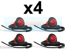 4x 12V / 24V POSTERIORE ROSSO SMALL ROUND LED pulsante Marcatore Lampada / Luci CAMION UNIVERSALE
