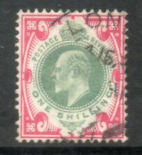 1902 SG257 SPEC M45 (3), 1/- Dull Green and Carmine pink cds