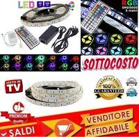 STRISCIA A LED SMD 5050 RGB 5 METRI BOBINA + ALIMENTATORE E TELECOMANDO 44 TASTI