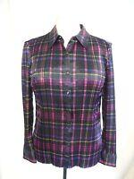 Ladies Shirt Viyella, size L petite, black purple pleated polyester, office 0510