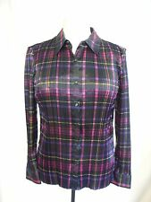 Ladies Shirt Viyella, size L petite, black purple pleated polyester, office 0510