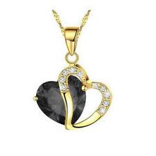Women's Peach Heart black Zircon Gold Plated Chain Pendant Necklace Jewelry