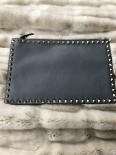 Authentic Valentino 'Large Rockstud' Calfskin Leather Pouch Clutch --Light Stone