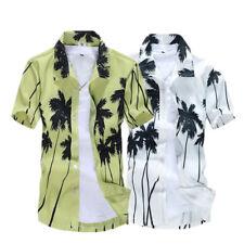 1x Hawaiian Men Casual Shirts Palm Tree Floral Holiday Beach Shirt Tops Fast Dry