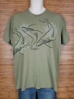 Wyland Hawaii Olive Green Whales Graphic T-Shirt Mens Size XL EUC