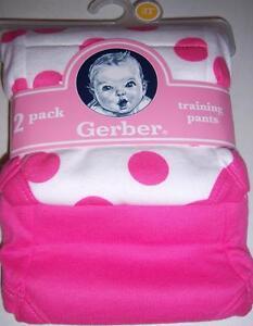 New Gerber 2pk Girl's Training Pants, Size 3T, Circles