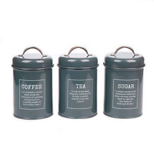 X021 Gray Set of 3 Kitchen Food Storage Canister Coffee Sugar Container Tea Jar