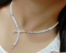 Indian Bollywood Necklace Earring Set White Stone AD Love Dress Fashion Jewelry