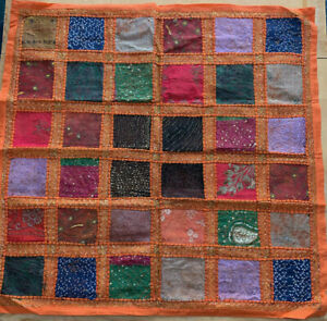 Handmade Embroided Table Cloth Wall Hanging Indian Abstract Patchwork Tapestry
