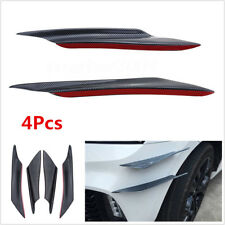 4Pcs Black Carbon Fiber Look Car Front Bumper Fins Canards Splitters Universal